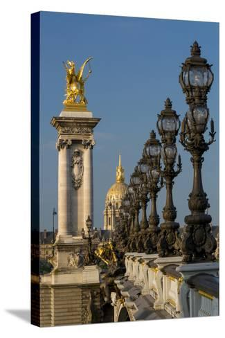 Ornate Pont Alexandre III with Hotel les Invalides, Paris, France-Brian Jannsen-Stretched Canvas Print