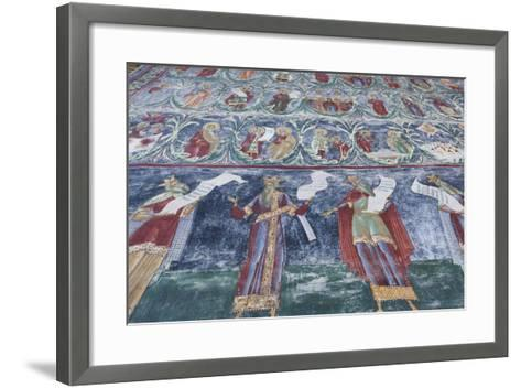 Romania, Sucevita, Sucevita Monastery, Exterior Religious Frescoes-Walter Bibikow-Framed Art Print