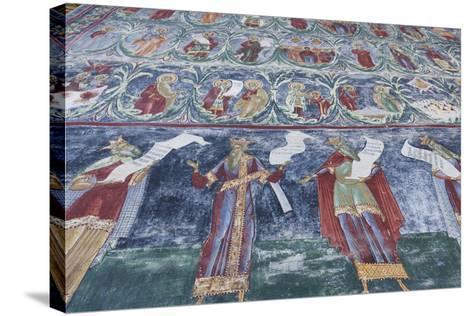 Romania, Sucevita, Sucevita Monastery, Exterior Religious Frescoes-Walter Bibikow-Stretched Canvas Print