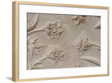 India, Agra, Taj Mahal. Detail of Carved Marble with Flower Design-Cindy Miller Hopkins-Framed Art Print