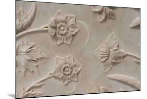 India, Agra, Taj Mahal. Detail of Carved Marble with Flower Design-Cindy Miller Hopkins-Mounted Photographic Print