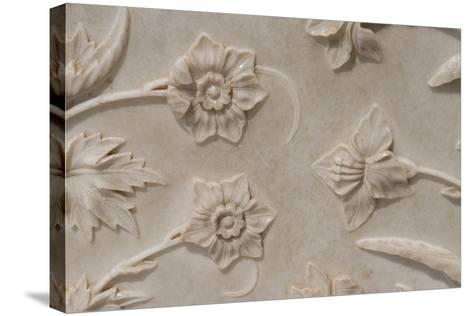 India, Agra, Taj Mahal. Detail of Carved Marble with Flower Design-Cindy Miller Hopkins-Stretched Canvas Print