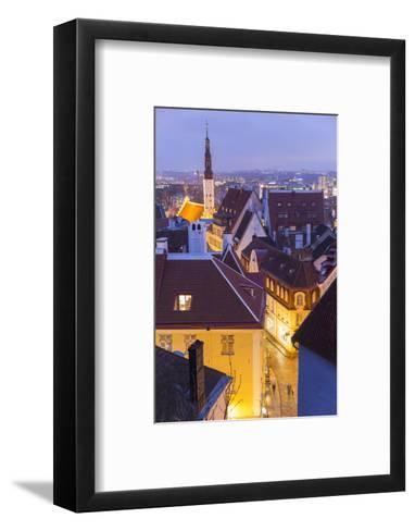 View of Old Town at Dusk, from Toompea, Tallinn, Estonia-Peter Adams-Framed Art Print