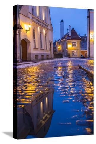 Reflections, Old Town, Tallinn, Estonia-Peter Adams-Stretched Canvas Print