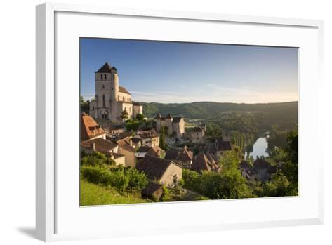 Morning over Saint-Cirq-Lapopie, Lot Valley, Midi-Pyrenees, France-Brian Jannsen-Framed Art Print