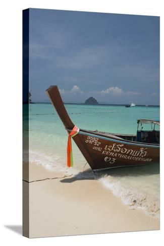 Thailand, Phuket, Island of Phi Phi Don. Traditional Longboat-Cindy Miller Hopkins-Stretched Canvas Print