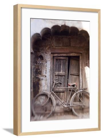 Bicycle in Doorway, Jodhpur, Rajasthan, India-Peter Adams-Framed Art Print