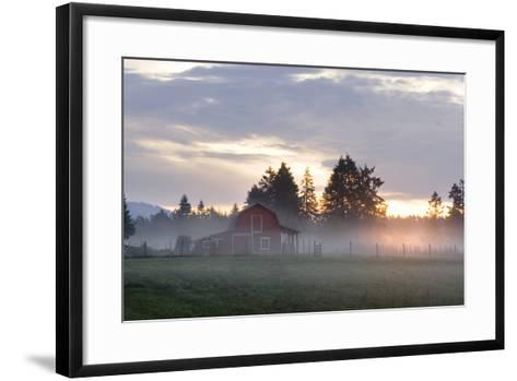 Canada, B.C., Vancouver Island. Barn on a Farm in the Cowichan Valley-Kevin Oke-Framed Art Print