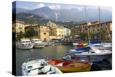 Malcesine, Harbor, Lake Garda, Lombardy, Italy-Peter Adams-Stretched Canvas Print