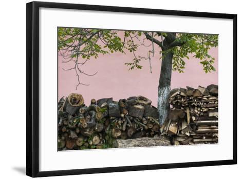 Romania, Transylvania, Sibiel, Firewood-Walter Bibikow-Framed Art Print