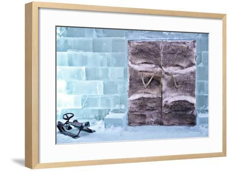 Fur Lined Doors to Ice Hotel in Northern Sweden-Sheila Haddad-Framed Art Print