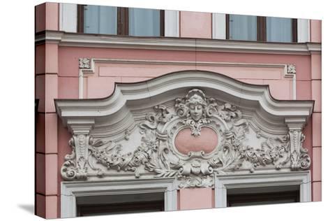 Romania, Transylvania, Brasov, Romanian National Bank Building-Walter Bibikow-Stretched Canvas Print