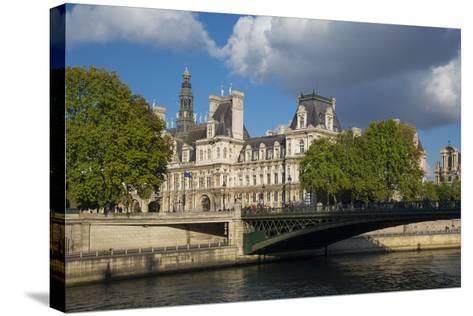 Evening Sunlight on Hotel de Ville across River Seine, Paris, France-Brian Jannsen-Stretched Canvas Print