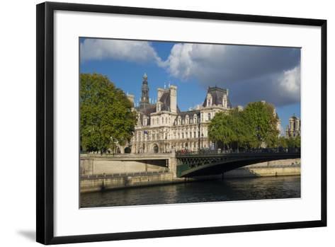 Evening Sunlight on Hotel de Ville across River Seine, Paris, France-Brian Jannsen-Framed Art Print