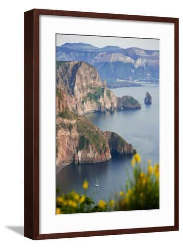 View of Volcano Island from Quattrocchi, Lipari Island, Sicily, Italy-Peter Adams-Framed Art Print