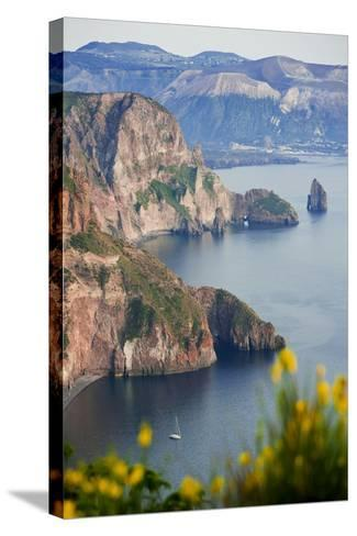 View of Volcano Island from Quattrocchi, Lipari Island, Sicily, Italy-Peter Adams-Stretched Canvas Print