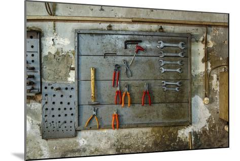 Tools on Wall in Old Repair Shop in Persembe Pazar, Istanbul, Turkey-Ali Kabas-Mounted Photographic Print