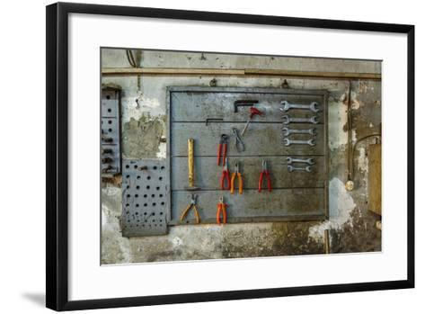 Tools on Wall in Old Repair Shop in Persembe Pazar, Istanbul, Turkey-Ali Kabas-Framed Art Print