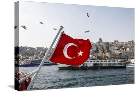 Turkish Flag, Passenger Ferry and Seagulls, Istanbul, Turkey-Ali Kabas-Stretched Canvas Print