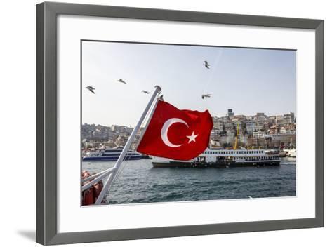 Turkish Flag, Passenger Ferry and Seagulls, Istanbul, Turkey-Ali Kabas-Framed Art Print