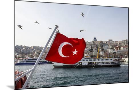 Turkish Flag, Passenger Ferry and Seagulls, Istanbul, Turkey-Ali Kabas-Mounted Photographic Print