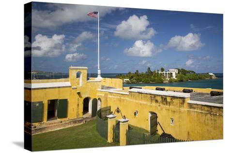Flag at Fort Christiansvaern, St Croix, Us Virgin Islands, West Indies-Brian Jannsen-Stretched Canvas Print