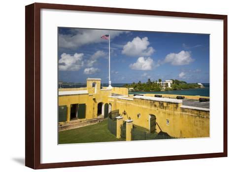 Flag at Fort Christiansvaern, St Croix, Us Virgin Islands, West Indies-Brian Jannsen-Framed Art Print
