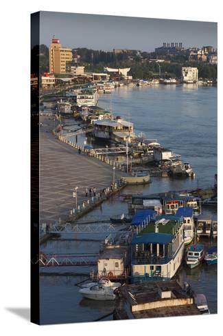 Romania, Tulcea, the Tulcea Port on the Danube River, Dawn-Walter Bibikow-Stretched Canvas Print