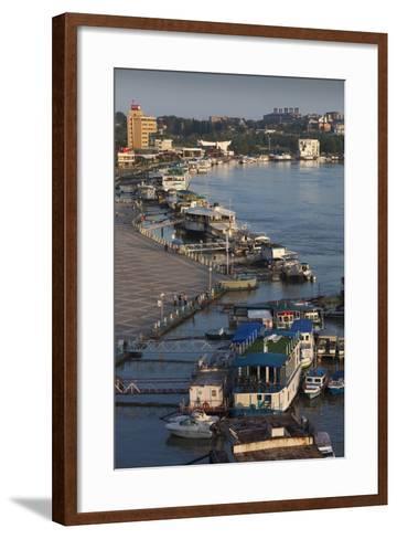 Romania, Tulcea, the Tulcea Port on the Danube River, Dawn-Walter Bibikow-Framed Art Print