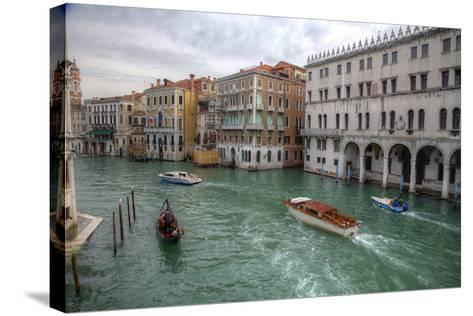 Boats Along the Grand Canal Venice, Italy-Darrell Gulin-Stretched Canvas Print