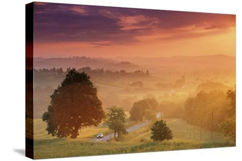 Road in Tuscany, Italy-Peter Adams-Stretched Canvas Print