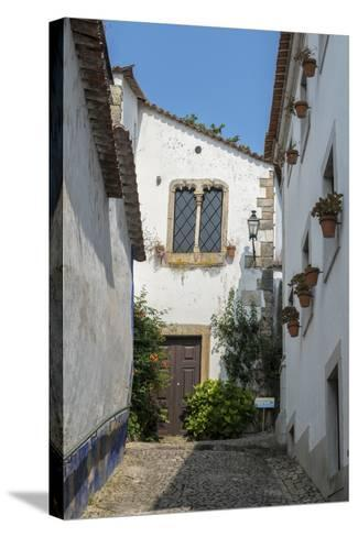 Portugal, Obidos, House on Cobblestone Street-Jim Engelbrecht-Stretched Canvas Print