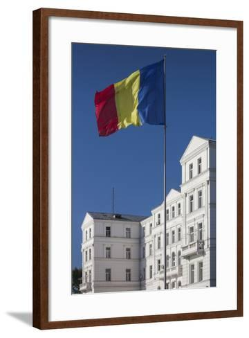 Romania, Black Sea Coast, Constanta, Flag and Government Building-Walter Bibikow-Framed Art Print