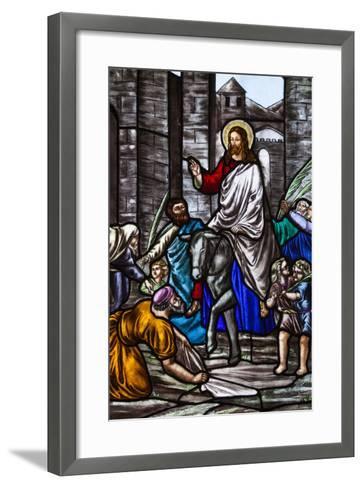Romania, Transylvania, Greco-Catholic Cathedral, Stained Glass Window-Walter Bibikow-Framed Art Print