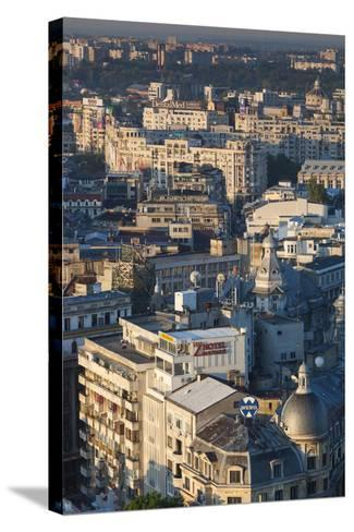 Romania, Bucharest, Lipscani, Old Town, Elevated View, Dawn-Walter Bibikow-Stretched Canvas Print