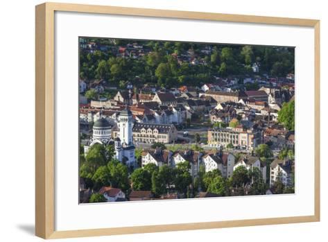 Romania, Transylvania, Sighisoara, Elevated Town View, Dawn-Walter Bibikow-Framed Art Print