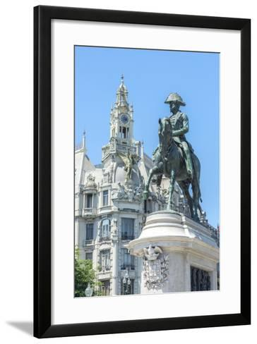 Portugal, Oporto, Liberty Square, Statue of King Pedro Iv-Jim Engelbrecht-Framed Art Print