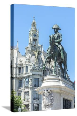 Portugal, Oporto, Liberty Square, Statue of King Pedro Iv-Jim Engelbrecht-Stretched Canvas Print