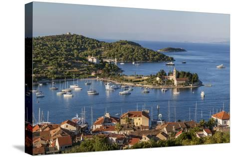 Vis Town, Franciscan Monastery and Harbor, Vis Island, Croatia-Peter Adams-Stretched Canvas Print