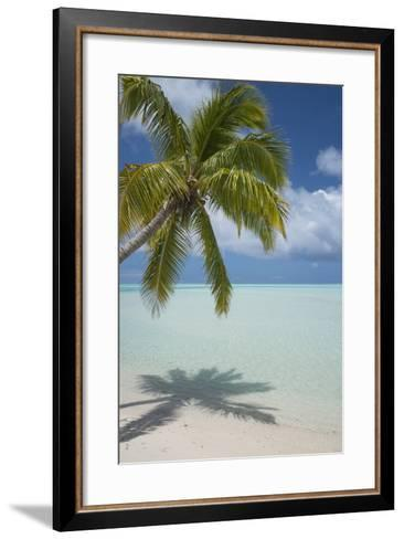Cook Islands, Aitutaki. One Foot Island. White Sand Beach with Trees-Cindy Miller Hopkins-Framed Art Print