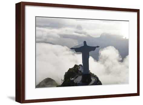 Art Deco Statue of Jesus, Corcovado Mountain, Rio de Janeiro, Brazil-Peter Adams-Framed Art Print
