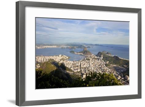 View over Sugarloaf Mountain in Guanabara Bay, Rio de Janeiro-Peter Adams-Framed Art Print