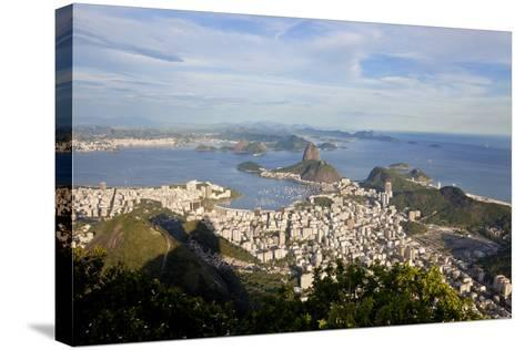 View over Sugarloaf Mountain in Guanabara Bay, Rio de Janeiro-Peter Adams-Stretched Canvas Print