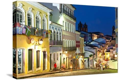 Colonial Centre at Dusk, Pelourinho, Salvador, Bahia, Brazil-Peter Adams-Stretched Canvas Print