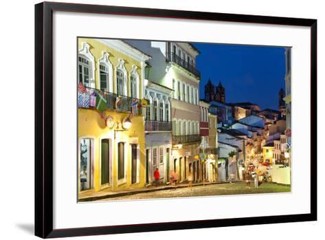 Colonial Centre at Dusk, Pelourinho, Salvador, Bahia, Brazil-Peter Adams-Framed Art Print