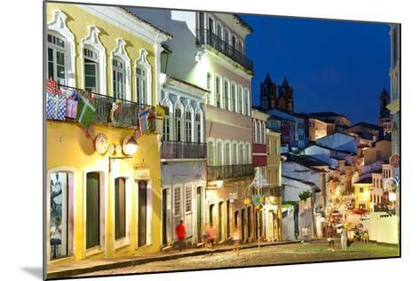 Colonial Centre at Dusk, Pelourinho, Salvador, Bahia, Brazil-Peter Adams-Mounted Photographic Print