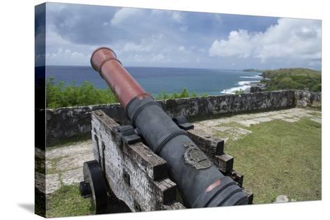 Us Territory of Guam, Umatac. Fort Soledad. Cannon and Philippine Sea-Cindy Miller Hopkins-Stretched Canvas Print
