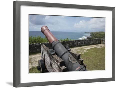 Us Territory of Guam, Umatac. Fort Soledad. Cannon and Philippine Sea-Cindy Miller Hopkins-Framed Art Print