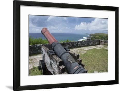 Us Territory of Guam, Umatac. Fort Soledad. Cannon and Philippine Sea-Cindy Miller Hopkins-Framed Art Print