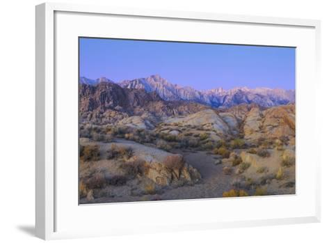 California, Alabama Hills. Sunrise on Lone Pine Peak and Mt Whitney-Don Paulson-Framed Art Print